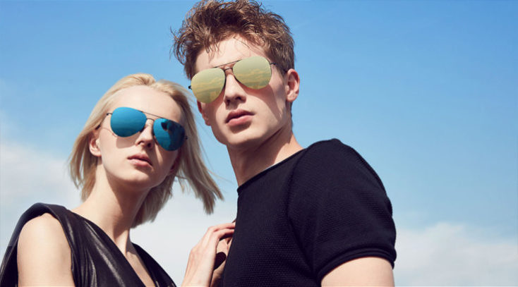 Man and woman with Xiaomi sunglasses