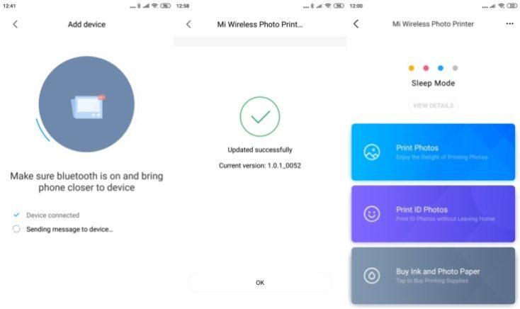 Xiaomi Photo Printer Mi Home App Screenshots