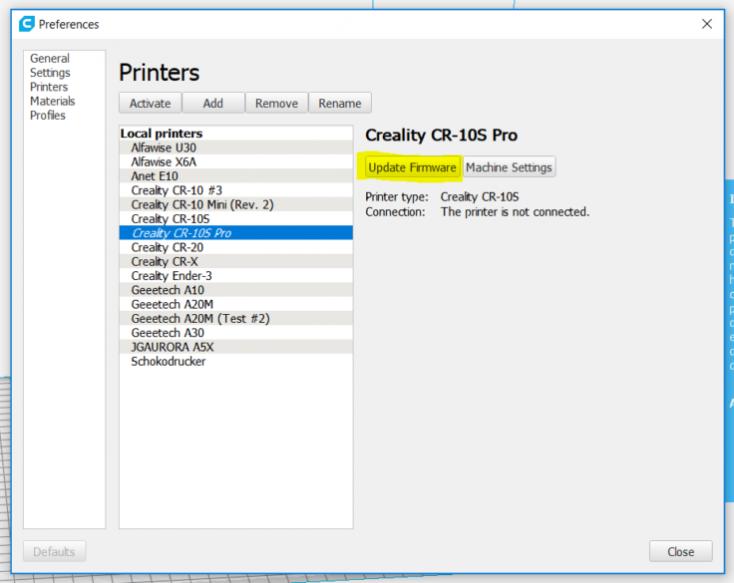 CR-10S Pro firmware-update cura