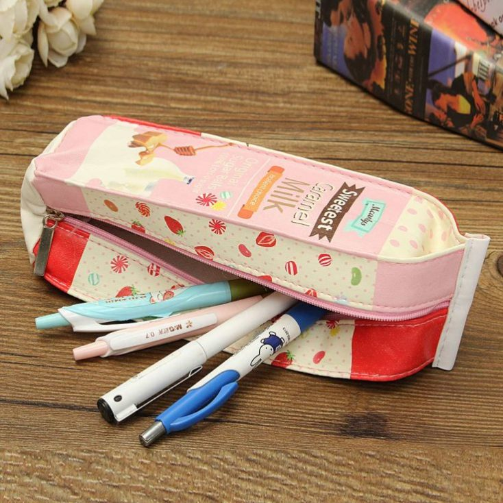 Pencil case in milk cartons design pencils
