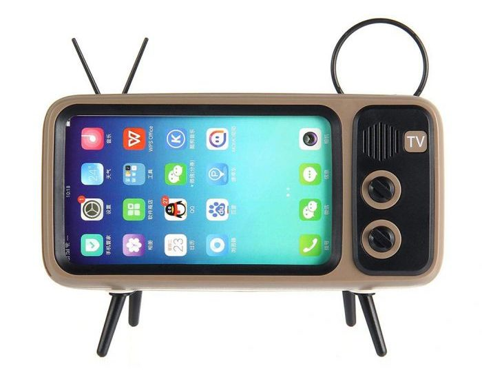 Retro speaker and mobile phone holder front