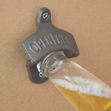 Wall bottle opener with beer
