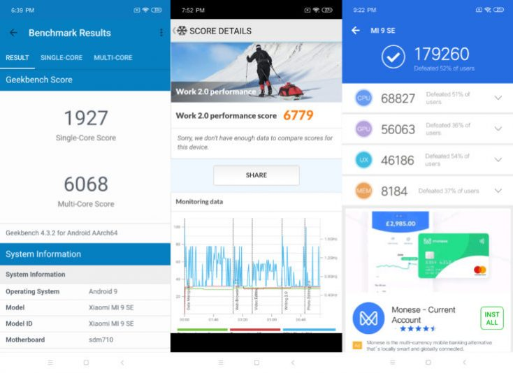 Xiaomi Mi 9 SE Benchmarks