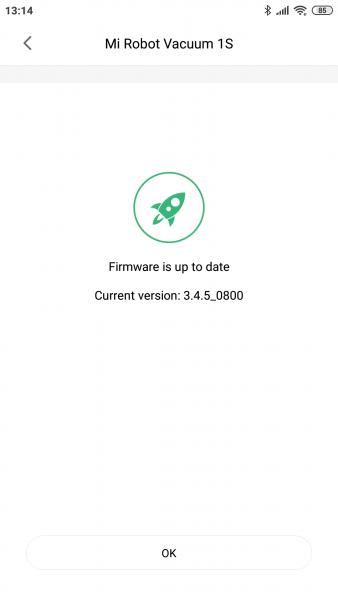 Xiaomi Mi Robot 1S Vacuum Robot Mi Home App Firmware Updates