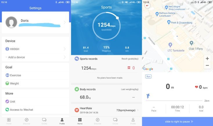 Lenovo HX06H Fitness Tracker Lenovo Life App Menus