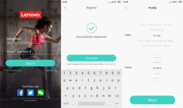 Lenovo HX06H Fitness Tracker Lenovo Life App Registration