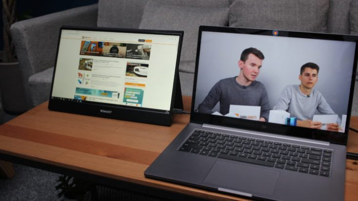 WIMAXIT 15.6 inch USB-C monitor on laptop