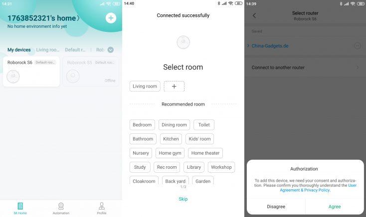 Xiaomi RoboRock S6 Vacuum Robot Mi Home App Server Change