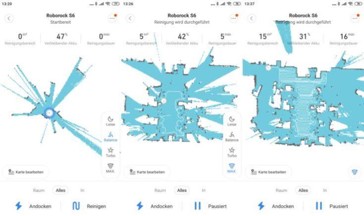 Xiaomi RoboRock S6 vacuum robot Mi Home App Mapping Cleaning Begin