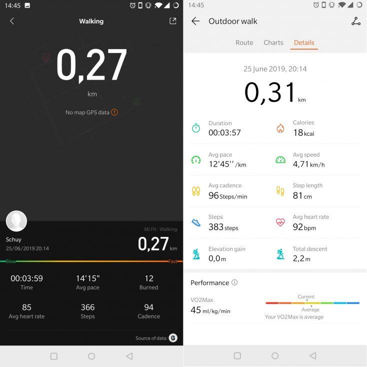 Mi Band 4 vs Honor Watch Magic GPS Walking Tracking