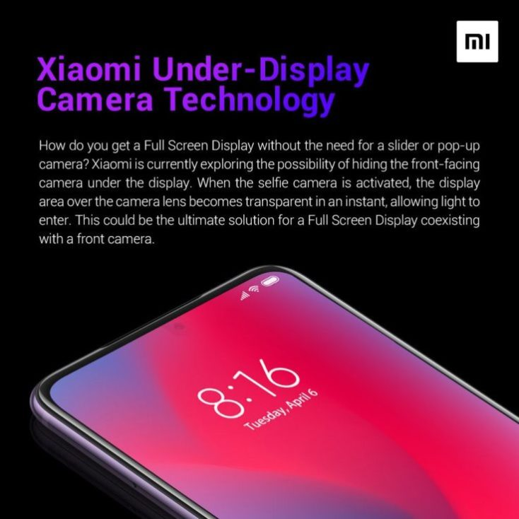 Xiaomi Camera in Display Technology
