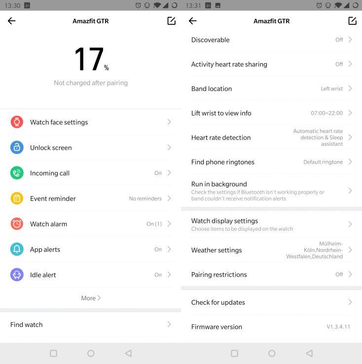 Amazfit GTR App settings