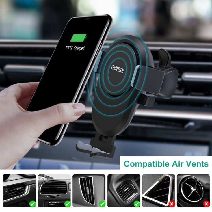 CHOETECH wireless car charger air vents