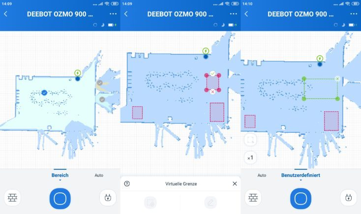 Ecovac's DEEBOT Ozmo 900 vacuum robot App Mapping virtual walls