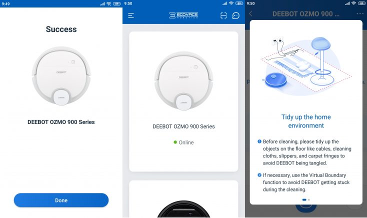 Ecovacs Home App Deebot Ozmo 900 Vacuum robot Connection WLAN