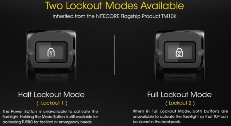 Nitecore Tup Lock Modes