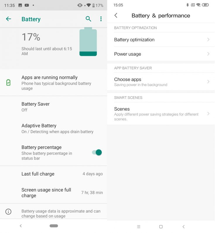 Xiaomi Mi A3 Android One vs MIUI battery settings