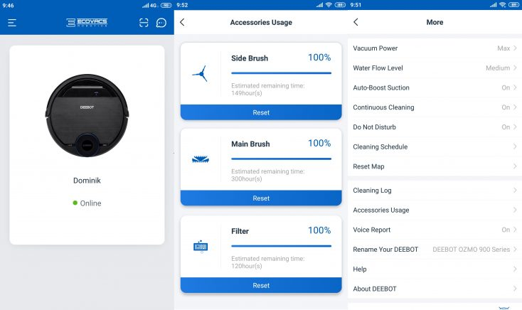 Ecovacs Deebot Ozmo 950 Vacuum Robot Home App Settings