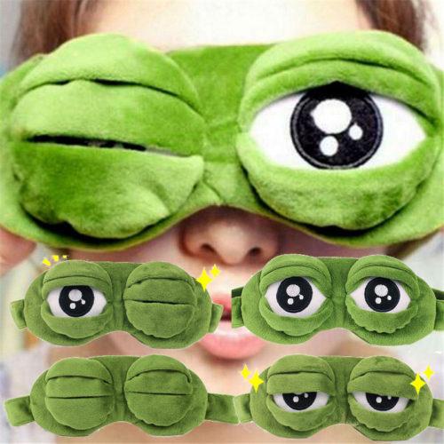 Frog sleep mask put on