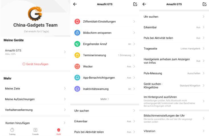 Huami Amazfit GTS Amazfit App Range of functions