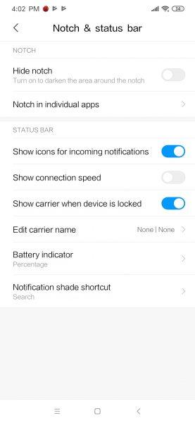 Redmi Note 8 Pro MIUI settings