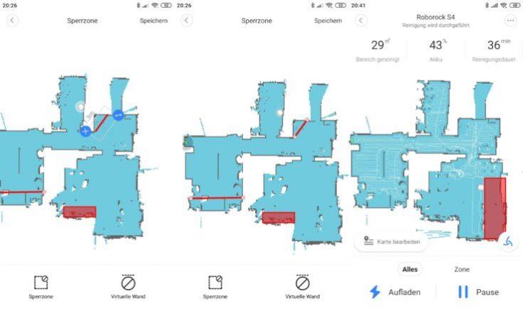 Roborock S4 vacuum robot App Mapping No-Go Zones