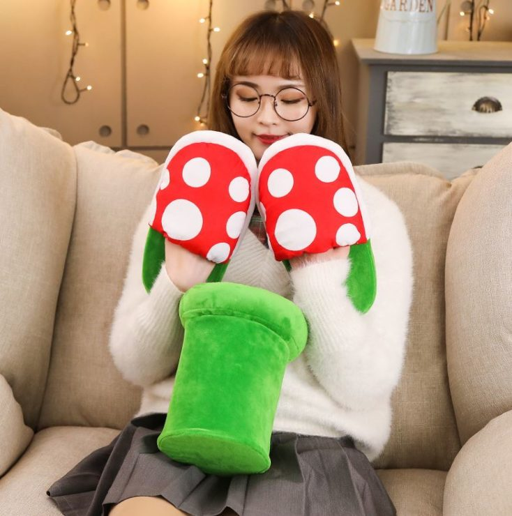 Piranha slippers on the couch