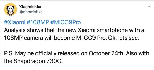Xiaomi Mi CC9 Pro Tweet