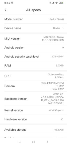 Redmi Note 8 Android Security Patch