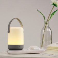 Portable night light with Qi charging station