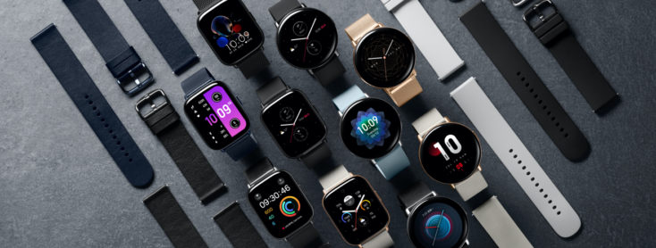 many Zepp E Smartwatches with switched on displays