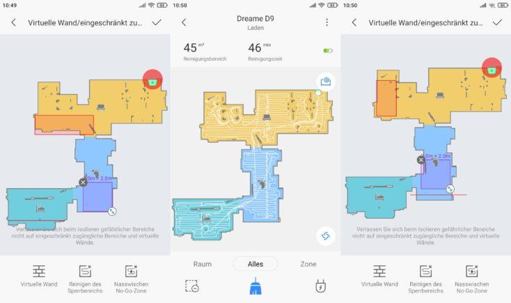 Dreame D9 vacuum robot Xiaomi Home App no-go zones virtual walls