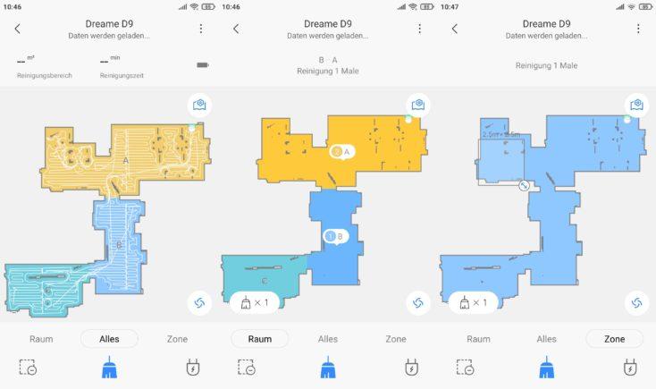 Dreame D9 vacuum robot Xiaomi Home App selective room division
