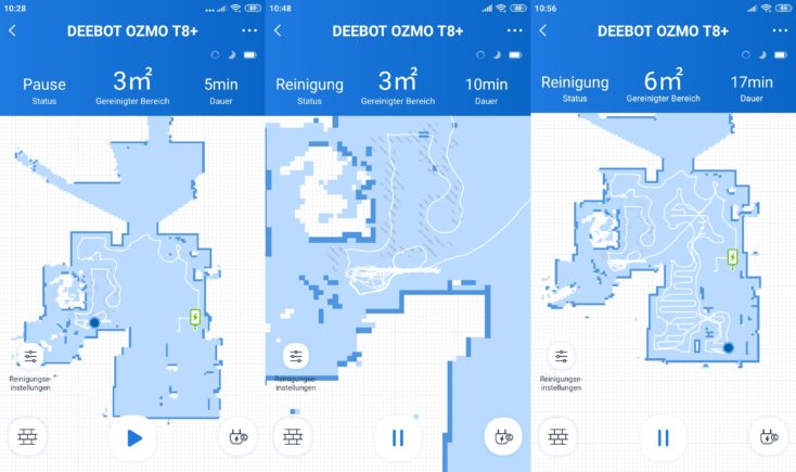 Ecovacs Deebot Ozmo T8 vacuum robot app first cleaning mapping