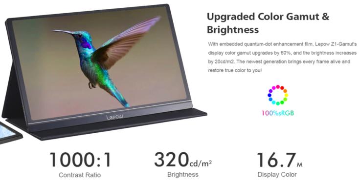 Lepow Portable Display 2020 color gamut