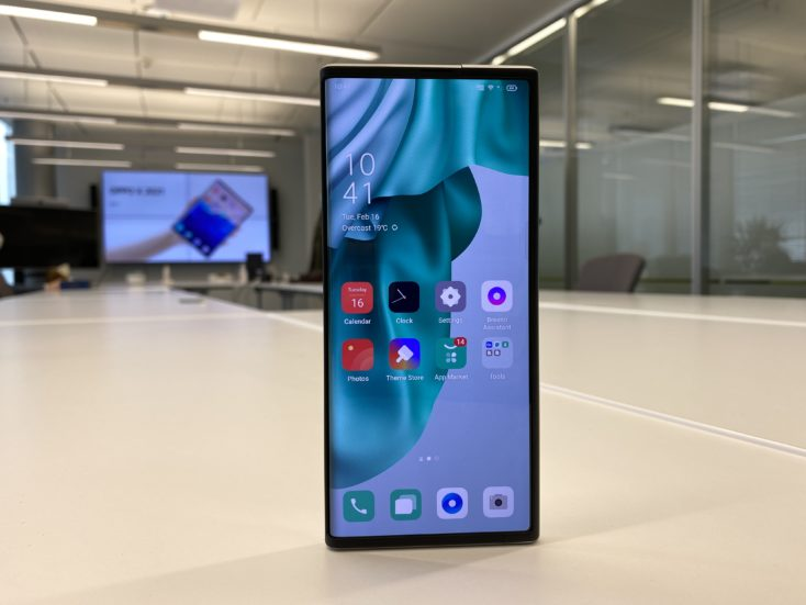 OPPO X 2021 rollable smartphone display retracted