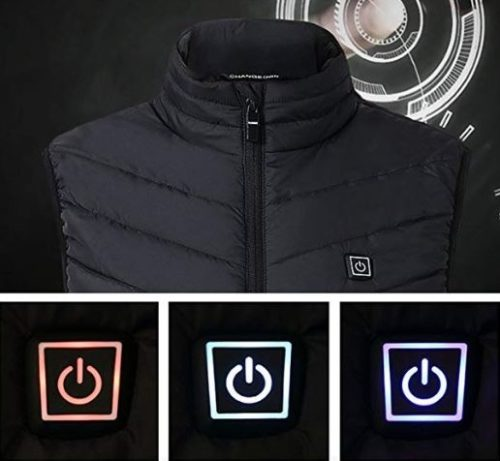 Warming vest button with LEDs