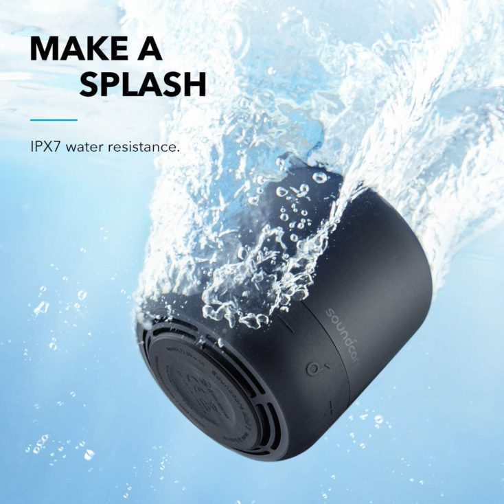 Anker Soundcore Mini 3 speaker promotional graphic in water indicating IPX7 protection rating