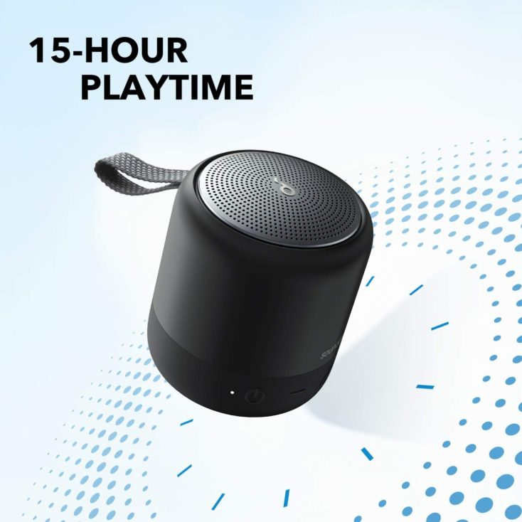 Anker Soundcore Mini 3 speaker promotional graphic indicating 15 hours of battery life