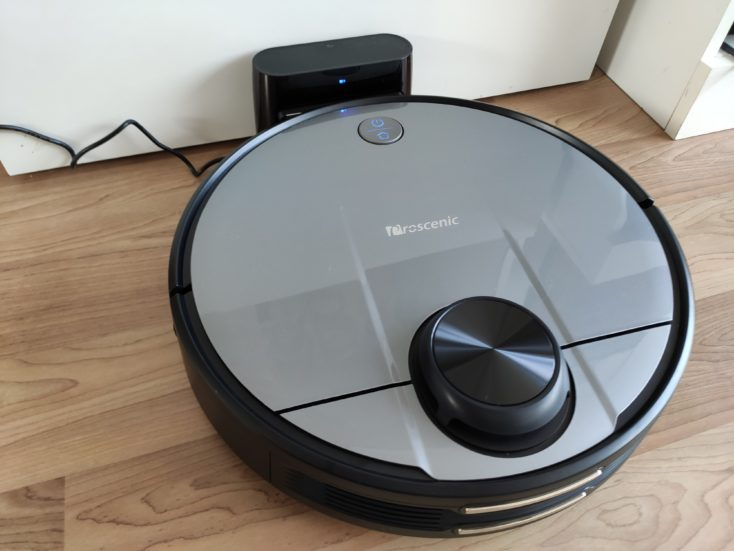 Proscenic M6 Pro robot vacuum cleaner at charging station