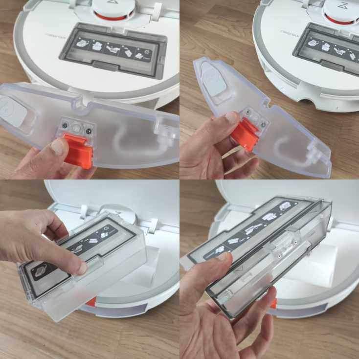 Roborock S7 Robot Vacuum Cleaner Removing the dust chamber and water tank