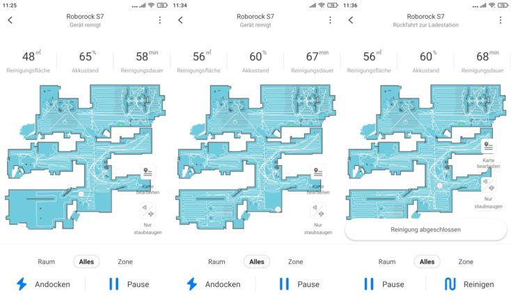 Roborock S7 vacuum robot app mapping cleaning completed