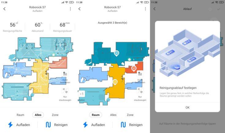 Roborock S7 vacuum robot app selective room division