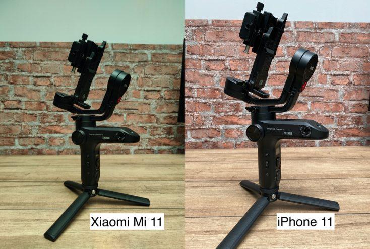 Xiaomi Mi 11 test photo vs iPhone 11 white balance
