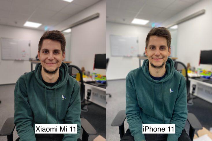 Xiaomi Mi 11 vs iPhone 11 test photo portrait camera person 1