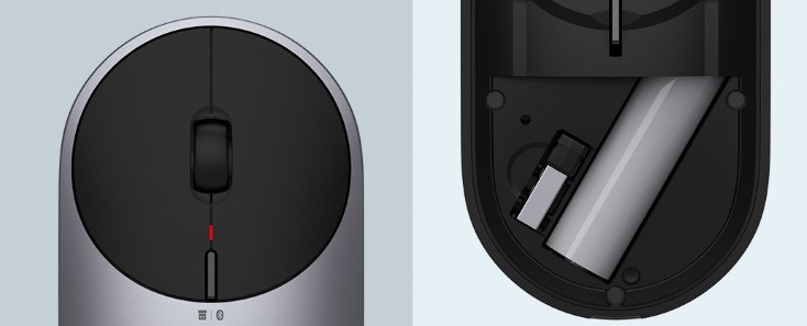 Xiaomi Portable Mouse 2 buttons and battery compartment
