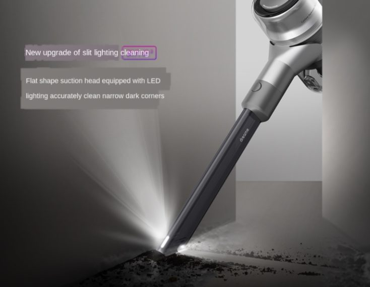 Dreame V12 cordless hand vacuum cleaner Light LEDs Groove attachment