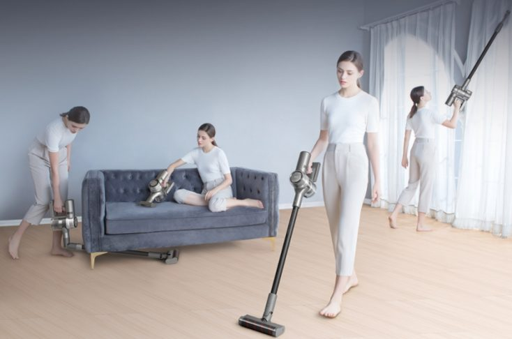 Dreame V12 cordless vacuum cleaner in use