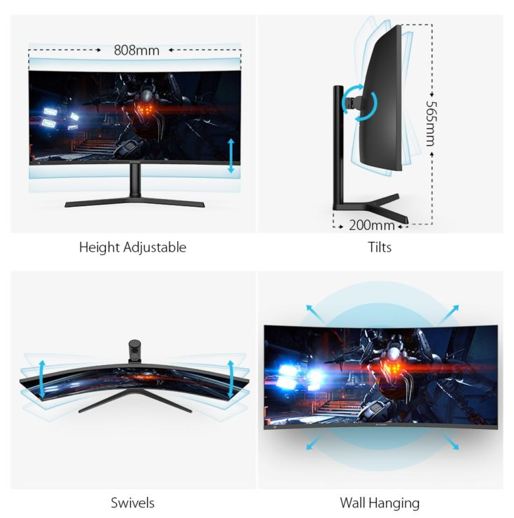 BlitzWolf BW GM3 34 inch curved gaming monitor dimensions