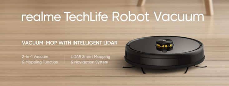 realme TechLife Robot Vacuum on hard floor